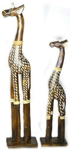 SET OF 2 HAND CARVED AFRICAN GIRAFFE WOOD SCULPTURE STATUE JUNGLE TROPICAL