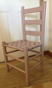 Vintage Wooden Cane Bottom Chair Ladder Back Country