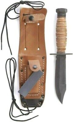 Ontario Air Force Survival Knife 499 Leather Grip Tactical Combat Pilot Knife-
