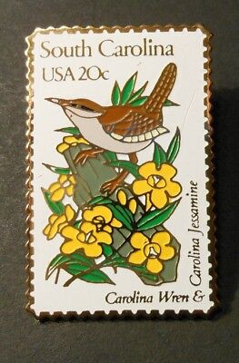"VTG USPS ""POSTAL STAMP PIN""  ""SOUTH CAROLINA USA 20c""   state bird & flower"