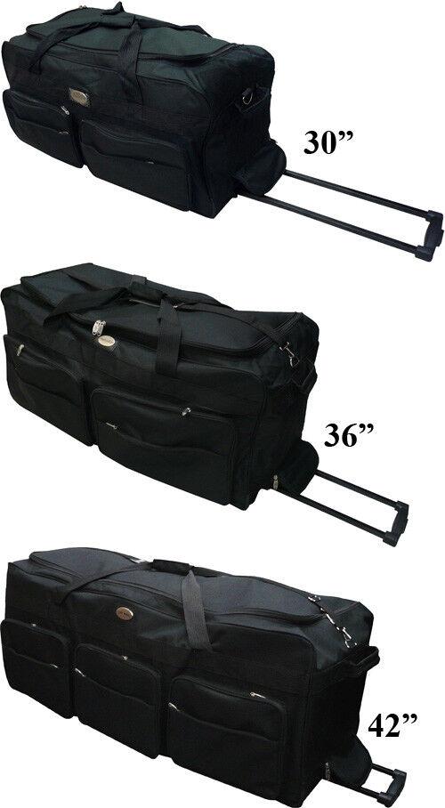 "30""/36""/42"" Black Rolling Wheeled Tote Duffel Bag Luggage Travel Duffel Suitcase"