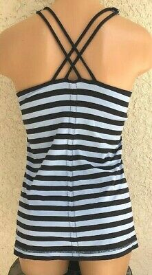 Lululemon Free To Be Tank 10 Strappy Criss Cross Back Striped Blue Yoga Top