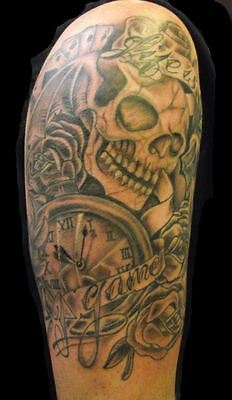 Tattoos Games (Temporary Removeable Tattoo Tatoo Life Is A Game Skull For Arm Shoulder)