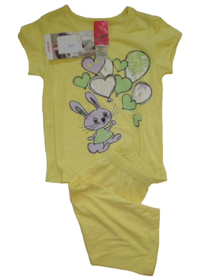 Mädchen kurzarm Pyjama Hase Luftballons Kinder Shorty Schlafanzug Herzen