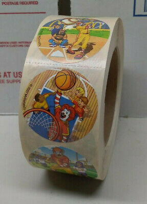 """2007 ROLL OF McDONALD'S RESTAURANT 2"""" ROUND STICKERS WITH RONALD PLAYING SPORTS"""