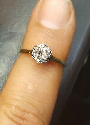 14k yellow  gold Vintage ANTIQUE  ROUND OLD mine CUT 0.62ct  Diamond  ring G-SI2