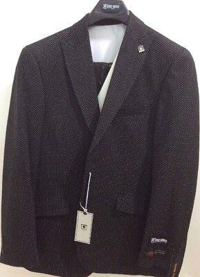 Weiß 3 Stück Anzug (Stacy Adams 3 Stück Anzug Schwarz mit Weißen Punkte 1Button Einreihig Spitze)