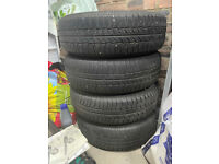 4x White Mini Cooper Wheels and matching Tyres. 175/65 R15 R82 8-Spoke Design