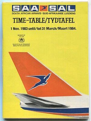SOUTH AFRICAN AIRWAYS SAA TIMETABLE WINTER 1983/84 SAL