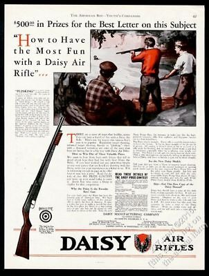 1930 Daisy Air Rifle boys shooting illustrated vintage print ad for sale  Shipping to Canada