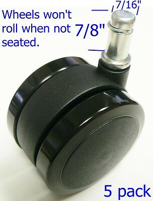 Oajen 2-38 60mm Soft Wheel Chair Caster Wheel Auto-lock For Hardwood Floor