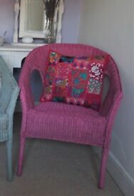 Pink Basket Wicker Chair - With Beautiful Patchwork Cushion.