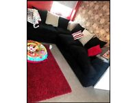 DFS Black jumbo cord corner sofa 2 years old