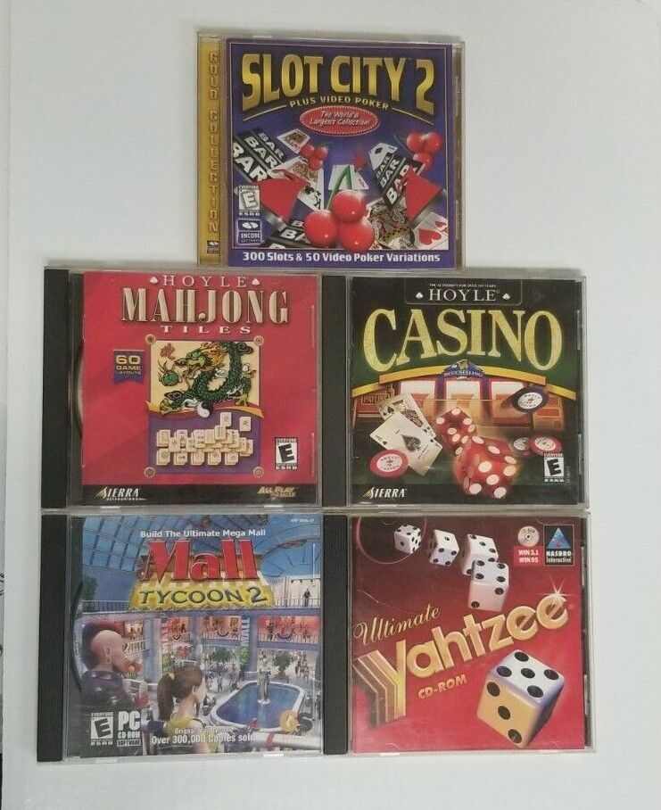 Computer Games - Lot 5 Computer Games  PC / CD ROM  Mall Tycoon 2 , Casino ,Yahtzee