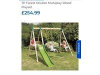 Garden double swing and slide