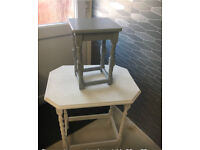 2 coffee tables excellent condition one painted in white chalk the other grey