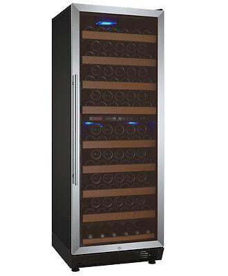 Allavino 99 Bottle Wine Cooler Refrigerator Dual Zone Stainless Steel Glass Door