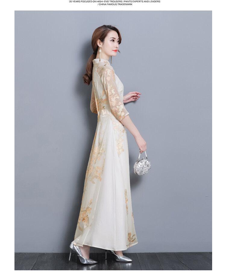 32ff9d8fc Hot Chinese Style Retro Women Slim 3/4 Sleeve Floral Print Qipao Cheongsam  Dress
