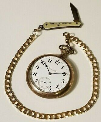 Hamilton 974 17j Open Face Pocket Watch Gold Filled With Fob Ad JA Nash Knife A