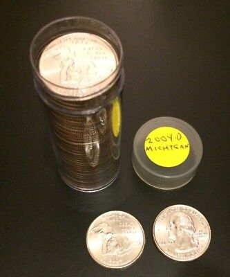 2004-D Michigan State Quarter Roll - Uncirculated in a Plastic Tube