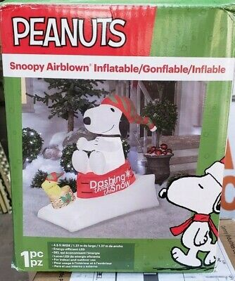 Gemmy 4ft Snoopy and Woodstock on Sleds Christmas Inflatable