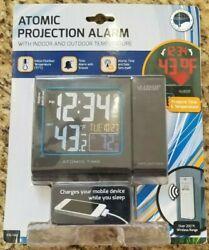 LaCrosse Technology Atomic Projection Alarm Clock w/ USB & Wireless Temp 616-146