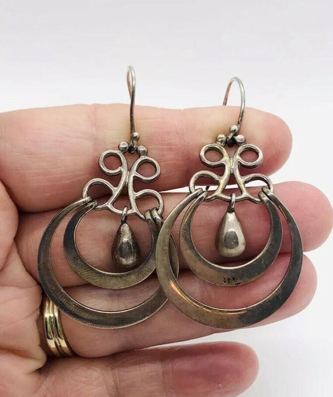 "Fabulous Large Sterling Silver Mexico Hoop Earrings 2 1/4""11gms  Vintage Jewelry"