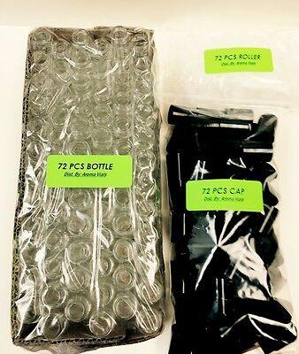 72 Bottles Plain 1 3 Oz 10Ml Clear Glass Roll On W Black Cap   Roller