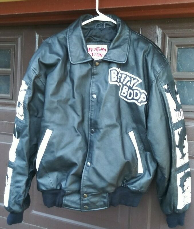 Vintage Betty Boop Black Leather Jacket Small Excellent Condition White