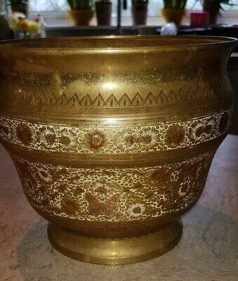 Vintage Large Brass Benares Jardinere (Beautiful)