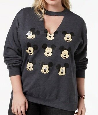 Disney Trendy Plus Size Mickey Mouse Faces Cut Out Sweatshirt 2X Womens NWT - Mickey Mouse Cut Out