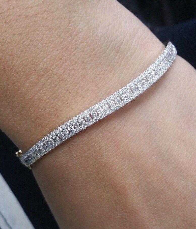 Deal! 1.75 CT Natural 100% Round Diamond Tennis Bangle Bracelet in 14KT Gold