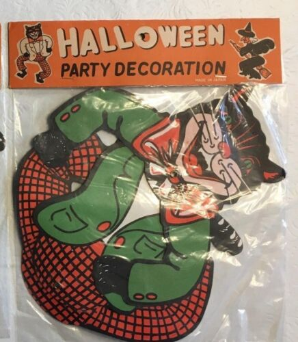 Vintage Halloween Black Cat Party Decoration Unused - Made in Japan