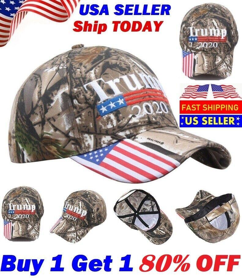 Donald Trump 2020 Flag Camo Hat President Keep America Great Cap USA fast ship
