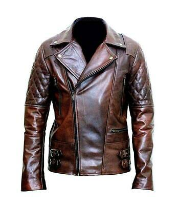 Bike Race Halloween 2 (NOORA Hand Made Biker Motorcycle Cafe Racer  Brown Real Leather Jacket)