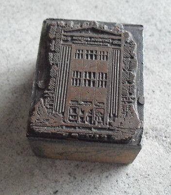 Vintage Continental American Building Wood Metal Letterpress Print Block Stamp