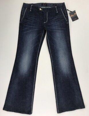 SEVEN 7 Premium Denim Womens Dark Wash Flare Trouser Pants Size 8 NWT TaLL