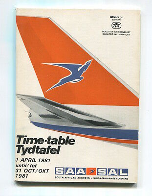 SOUTH AFRICAN AIRWAYS SAA TIMETABLE SUMMER 1981 SAL