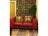 Modern red leather two seater sofa from reids