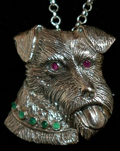 GORGEOUS STERLING ~TERRIER DOG~ Jeweled REAL RUBIES & EMERALDS Pendant Necklace