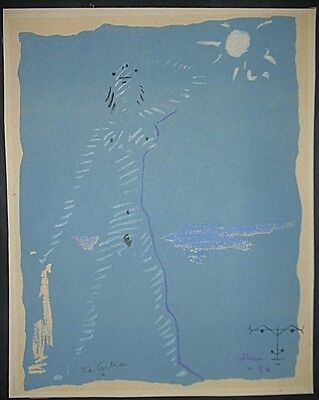 Jean Cocteau, Original Lithographie1954, handsigniert, Sous le manteau de feu IV