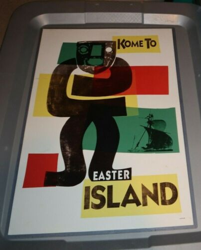 KOME TO EASTER ISLAND MOAI STATUE 11X17 REPRO POSTER  READY TO HANG TRAVEL AGENT