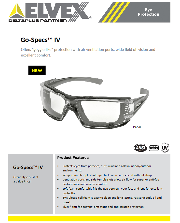 Elvex Go Specs IV Safety/Glasses/Goggles Clear A/F Dark Gray Temples Z87.1 WELGG