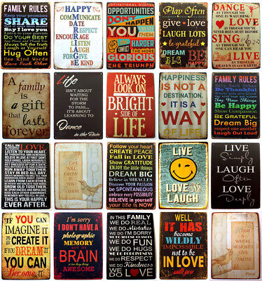 Metal Tin Retro Sign Motivational Quotes Plaque Vintage Wall Home Decor Poster