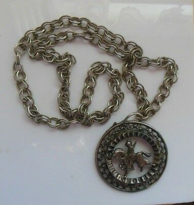 Vintage Silver-tone Knight in Shining Armor on Horse Medallion Pendant Necklace](Knight On Horse Costume)
