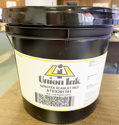 Union Ink Aerotex Air Cure Water Based Textile Ink Scarlet Red - Gal. Atex3011g