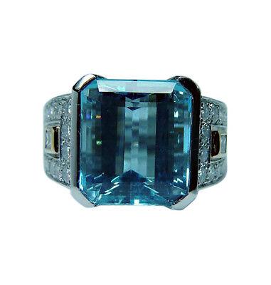 Richard Krementz Platinum Aquamarine Diamond Ring Designer Estate 9.8c GIA cert