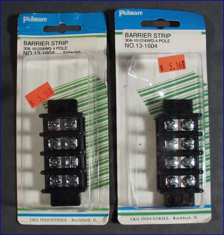 2 PHILMORE BARRIER STRIP 30A 10-22AWG 4 POLE NO. 13-1604, FACTORY SEALED PACKETS