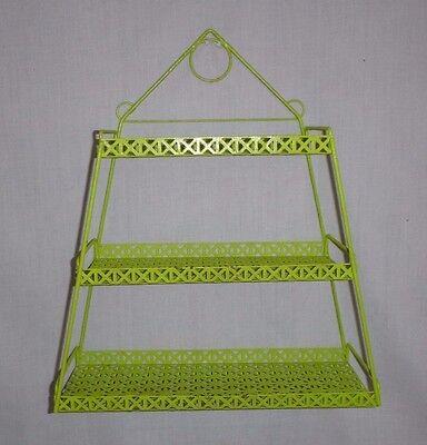 Vtg Mid Century Metal Mesh 3 Tier Shelf Pyramid Shape Painted Green