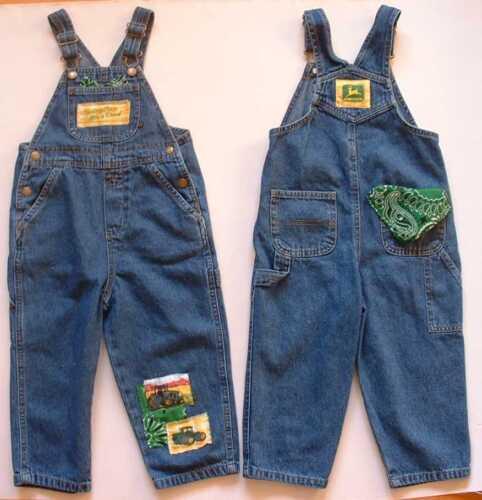 NEW John Deere Bib Overalls, blue denim Jeans, 9m-5T Baby & Toddlers, Boys Girls